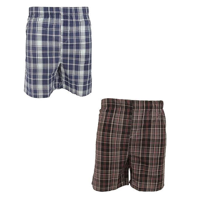 Pantalones de pijama cortos para hombre (paquete de 2) (Mediana (M)