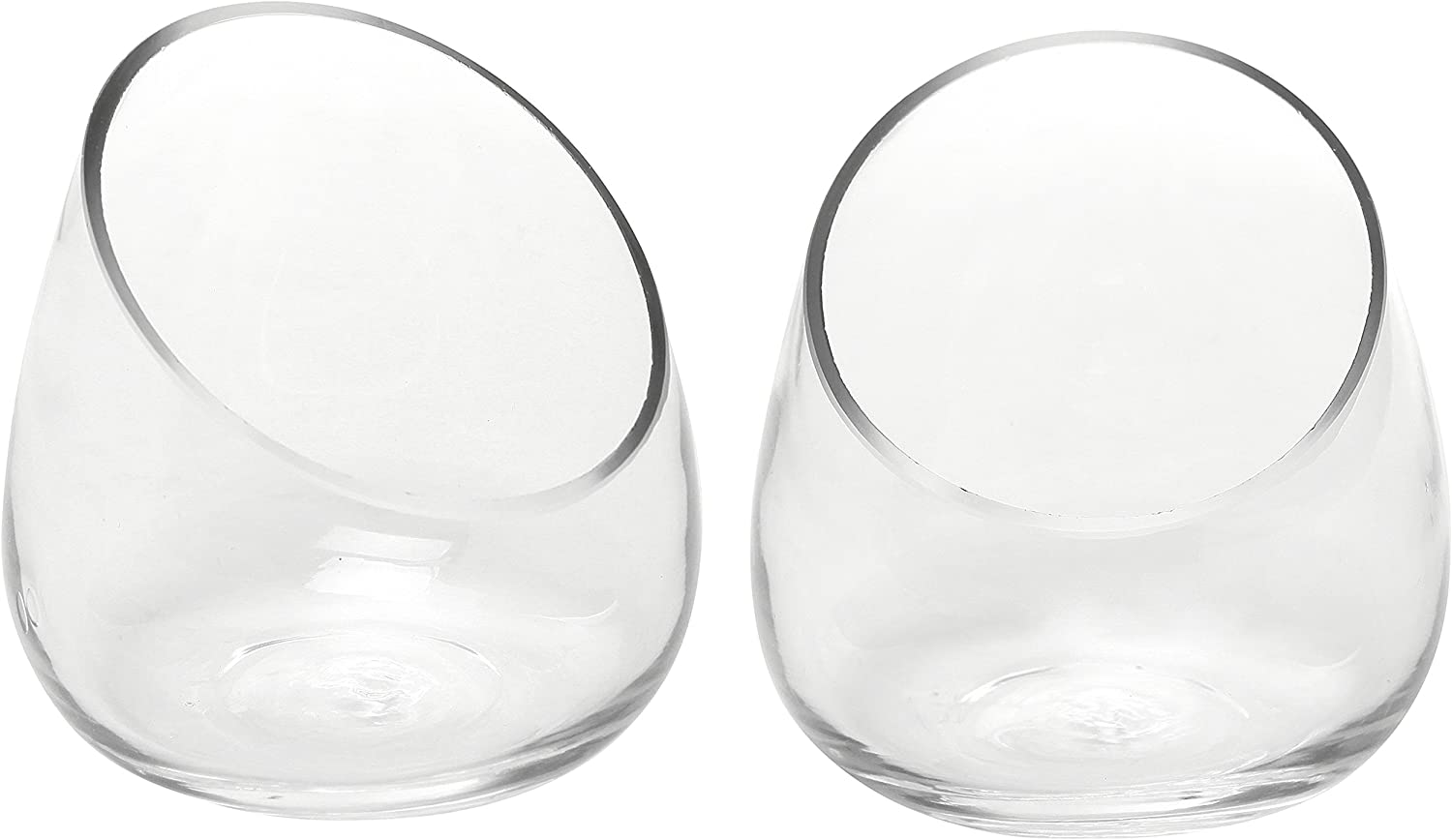 Set of 2 Modern Clear Glass Succulent Plant Vases/Small Candle Sconces/Decorative Storage Jars