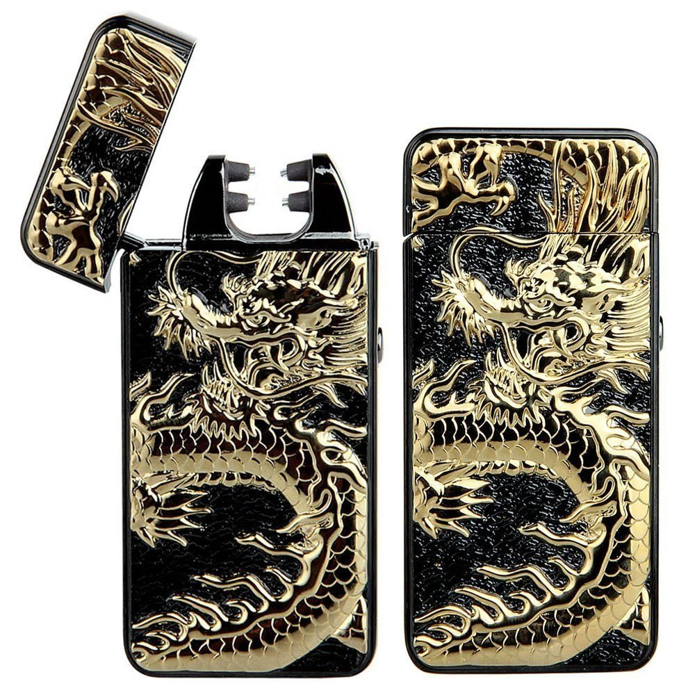 Pard Relief Dragon Windproof Cross Arc Lighter Usb Rechargeable Flameless Ele.. 2