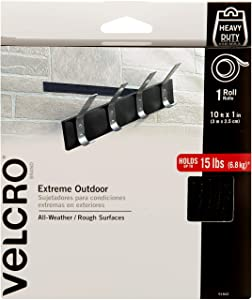 VELCRO Brand Industrial Strength Fasteners | Extreme Outdoor Weather Conditions | Professional Grade Heavy Duty Strength Holds up to 15 lbs on Rough Surfaces | 10 ft x 1 inch Tape, Black