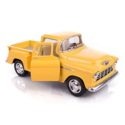 Yellow 1955 Chevy Stepside Pick Up Die Cast Collectible Toy Truck By Kinsmart
