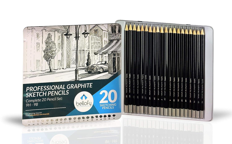 20 Lapices Grafito Bellofy De Dibujo Profesional (xmp)