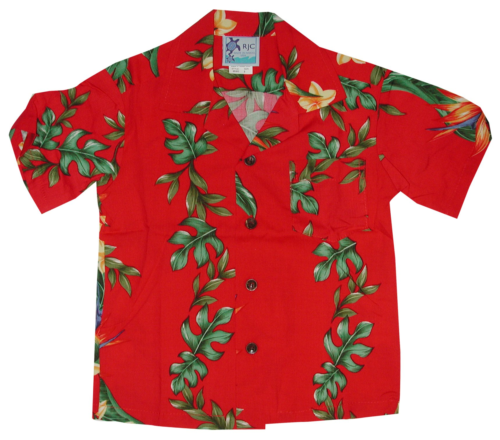 RJC Boys Island Bird of Paradise Panel Rayon Shirt Red 16