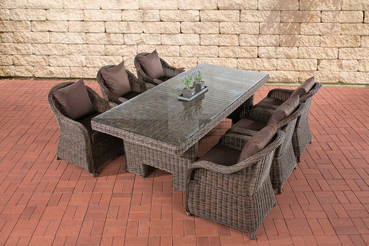 CLP Polyrattan Sitzgruppe CANDELA braun-meliert, 6 Sessel inkl. Polster + Tisch 220 x 100 cm, 5mm Rundrattan braun-meliert, Bezugfarbe terrabraun