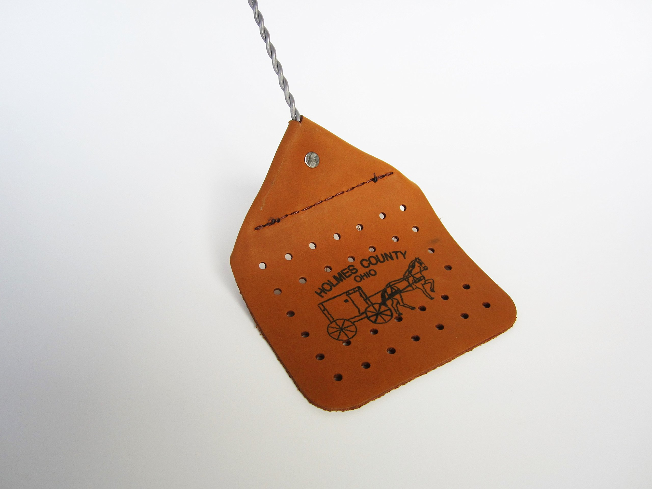 Amish Leather Fly Swatter Brown Holmes County Handcrafted Wire Handle
