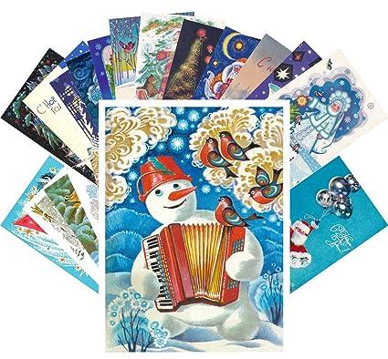 Amazon vintage christmas greeting cards 24pcs russian ussr new vintage christmas greeting cards 24pcs russian ussr new year greetings reprint postcard set m4hsunfo