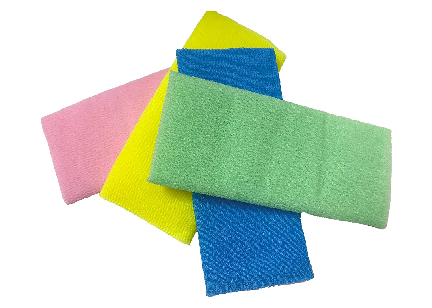 Nitram Premium Spa Exfoliating Bath Cloth Towel set (4 Pack) Extra Long (35 Inches) shower loofah body scrubber Nylon Bath scrubber Precise exfoliation Beauty Skin Bath Wash pink, green, blue, yellow