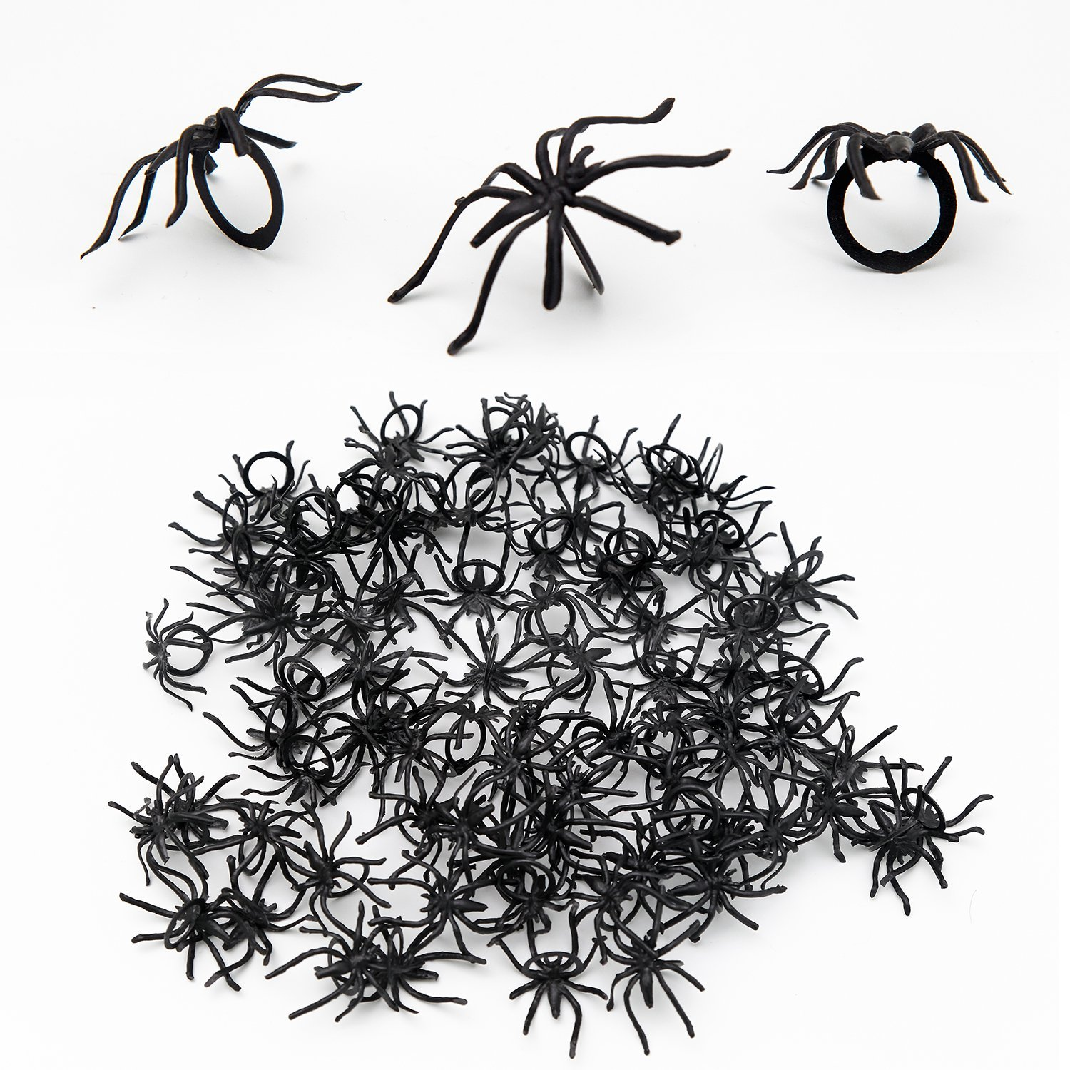 120 Pieces Spider Rings Halloween Party Favors Realistic Plastic Spider Rings Toys Halloween Decorations Scafiv-1