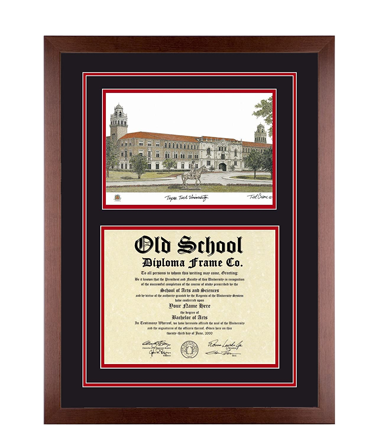 Amazon.com: TEXAS TECH Diploma Frame with Artwork in Classic Black ...