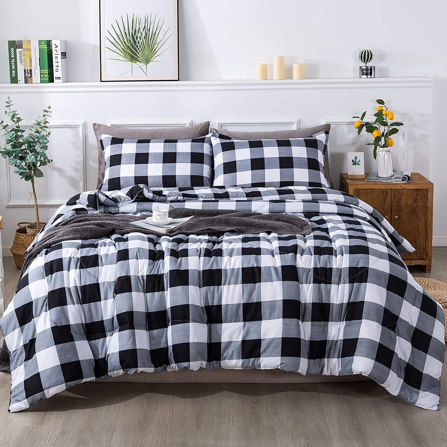 Andency Gray Plaid Comforter King(104x90 Inch), 3 Pieces(1 Plaid Comforter and 2 Pillowcases) Buffalo Checked Plaid Comforter Set, Geometric Checkered Comforter Bedding Set