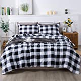 Andency Gray Plaid Comforter King(104x90 Inch), 3 Pieces(1 Plaid Comforter and 2 Pillowcases) Buffalo Checked Plaid Comforter