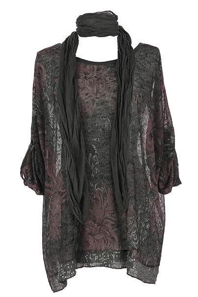 26f38ce29ca Ladies Women Italian Lagenlook 2 Piece Floral Print Scarf Sequin Kaftan Tunic  Top Blouse One Size Plus (Dark Grey, One Size): Amazon.co.uk: Clothing