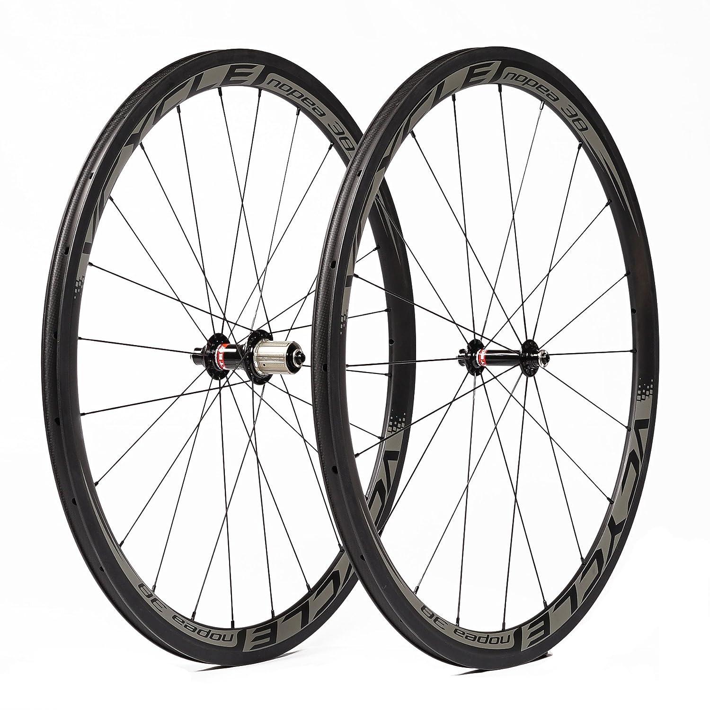 VCYCLE Nopea 700C Bicicleta de Carretera Juego de Ruedas Carbono Remachador 38mm Shimano o Sram 8/9/10/11 Velocidad: Amazon.es: Deportes y aire libre