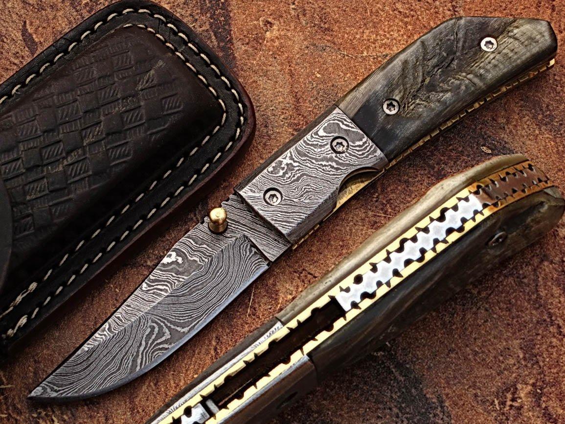 Custom Made Damaskus 15,7cm Taschenmesser mit Awesome Rare RAM Horn Griff & Zusammenklappbar Damaskus Nackenrolle, Klinge unter 7,6cm (bdm-725)