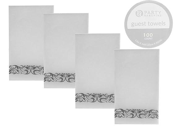 Fiesta Bargains linen-feel desechables Toallas de papel para invitados | Durable & decorativa suave de tela baño mano servilletas para cena, boda o fiesta ...