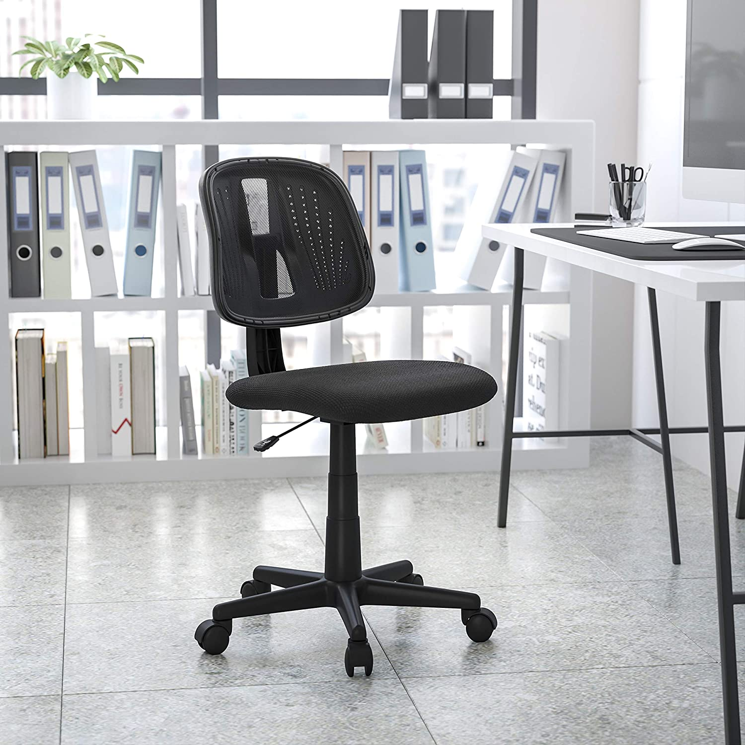 Flash Fundamentals Mid Back Black Mesh Swivel Task Office Chair With Pivot Back Amazon Ca Home Kitchen