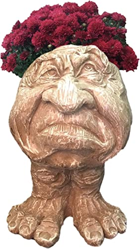 Homestyles 13 in. Stone Wash Grumpy The Muggly Face Statue Planter Holds 5 in. Pot