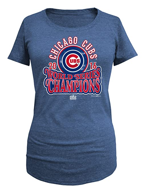 47658c3d439 Chicago Cubs Womens 2016 World Series Champs Blue Circle Arch Scoop Neck T- shirt X