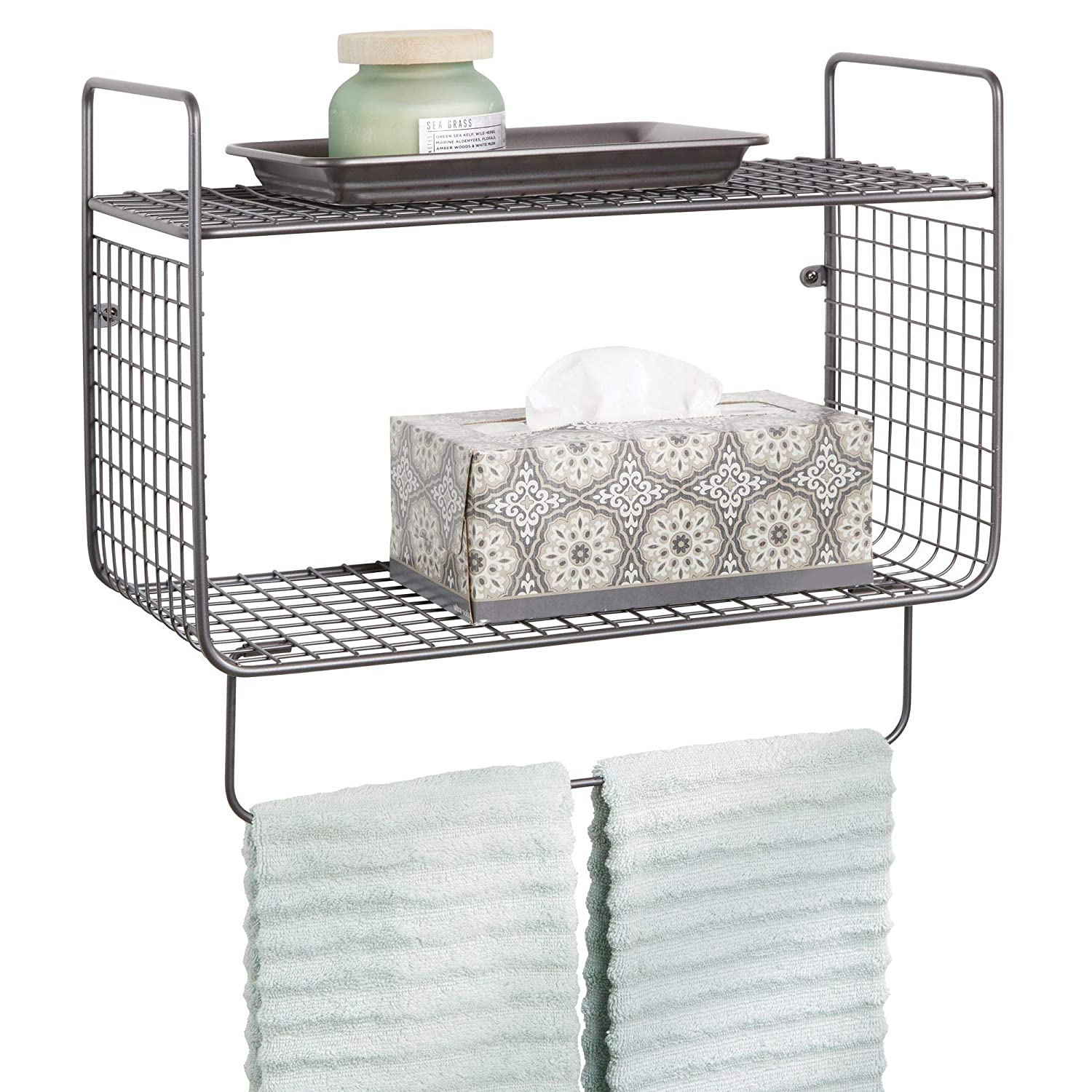 mDesign Metal Wire Farmhouse Wall Decor Storage Organizer 2 Tier Shelf with Towel Bar for Bathroom, Laundry Room, Kitchen, Garage - Wall Mount - Graphite Gray