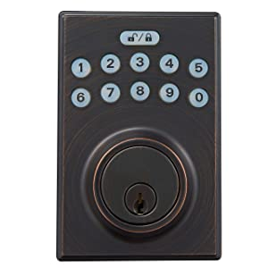AmazonBasics Contemporary Electronic Keypad Deadbolt Doot Lock, Keyed Entry, Oil Rubbed Bronze
