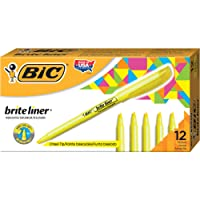 BIC BICBL11YW Brite Liner Highlighter, Chisel Tip, Yellow, 12-Count