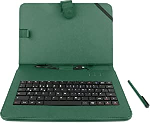 DURAGADGET Green Micro USB German Keyboard Case/Cover - Compatible with Acer Iconia Tab A210 10.1 inch | Iconia Tab A211 & Iconia A510 Olympic Edition Tablets + USB to Micro USB Adapter