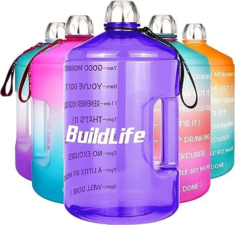 etc. BuildLife Botella de Agua Deportiva con Marcas de Tiempo Deportes al Aire Libre Ideal para Gimnasio Culturismo Oficina Culturismo Senderismo