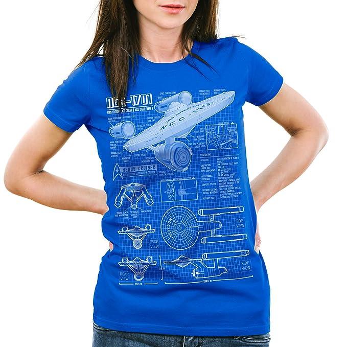 style3 NCC-1701 Camiseta para Mujer T-Shirt Fotocalco Azul Christopher Pike Trek Trekkie