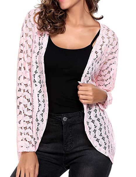 Image Unavailable. Image not available for. Color  SoTeer Women s Long  Sleeve Sheer Lace Crochet Open Front See Through Cardigan Tops 20f8dc5e5