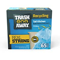 Trash Away Heavy Duty Recycling Drawstring Bags | Tall & Strong Bags for Home & Kitchen - (65 Ct, 13 Gallons) Large…
