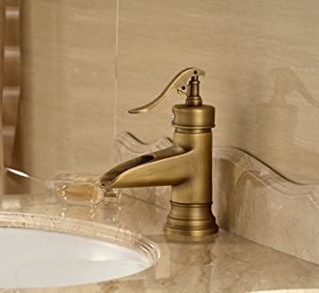 Wovier Antique Brass Waterfall Bathroom Sink Faucet,Single Handle Single  Hole Vessel Lavatory Faucet,