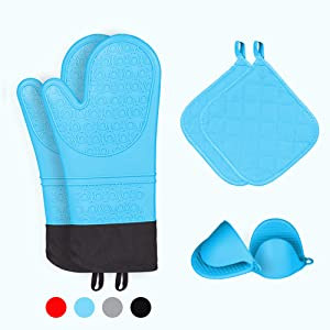 Kiya Oven Mitts and Pot Holders (6-Piece Sets),Silicone Oven Mitts Heat Resistant,Silicone Oven Gloves with Cooking Pinch Mitts and Potholders (Blue)