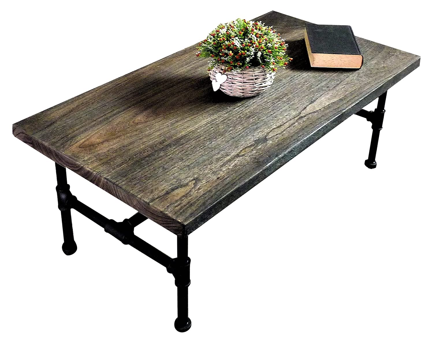 Amazon.com: Furniture Pipeline Industrial, Rectangle Pipe Coffee Cocktail  Table, Metal With Reclaimed Aged Wood Finish: Kitchen U0026 Dining