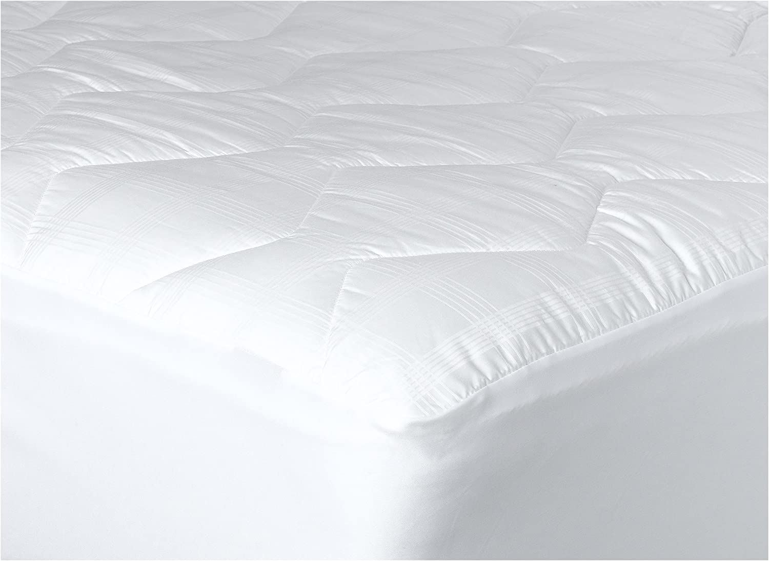 Newpoint Home 370-Thread Count Mercerized Cotton Mattress Pad, Twin, White