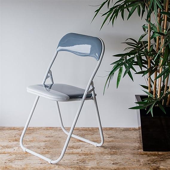Silla plegable de escritoria acolchado, gris y blanco - 6 sillas