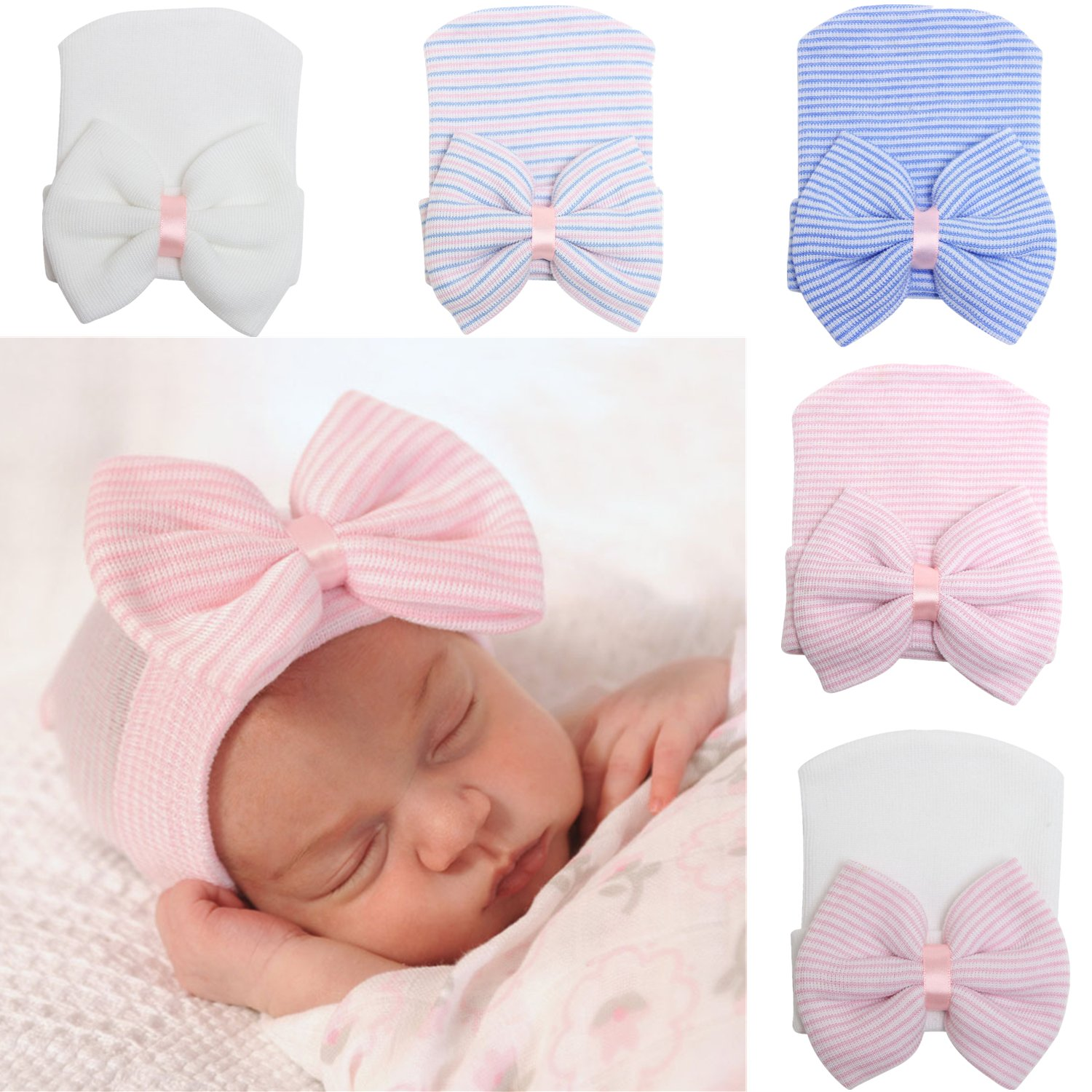 YQWEL Newborn Hospital Hat Infant Baby Hat Cap with Big Bow Soft Cute Knot Nursery Beanie