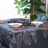 SXSHOME Leaves Fabric Cotton Tablecloth for Rectangle tables Kitchen Dining Room Tables Outdoor Picnics Camping 55x86 Inch Leaves Dark Blue