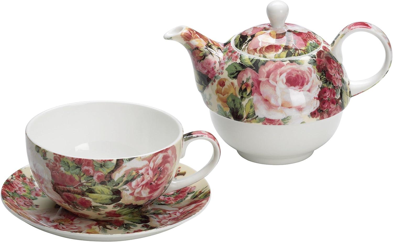 Tasse- und Untertasse-Set f/ür eine Person im Vintage-Stil London Boutique Teekanne- in Geschenkbox 15x15cm Butterfly Rose mit Rosen- und Lavendel-Muster Porzellan