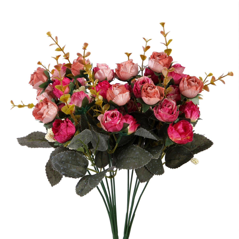 K/ünstliche Seiden-Blumen mit Stielen und Bl/ättern von Houda 2/St/ück Pink Coffee Hochzeits-Dekoration Str/äu/ße Rosen
