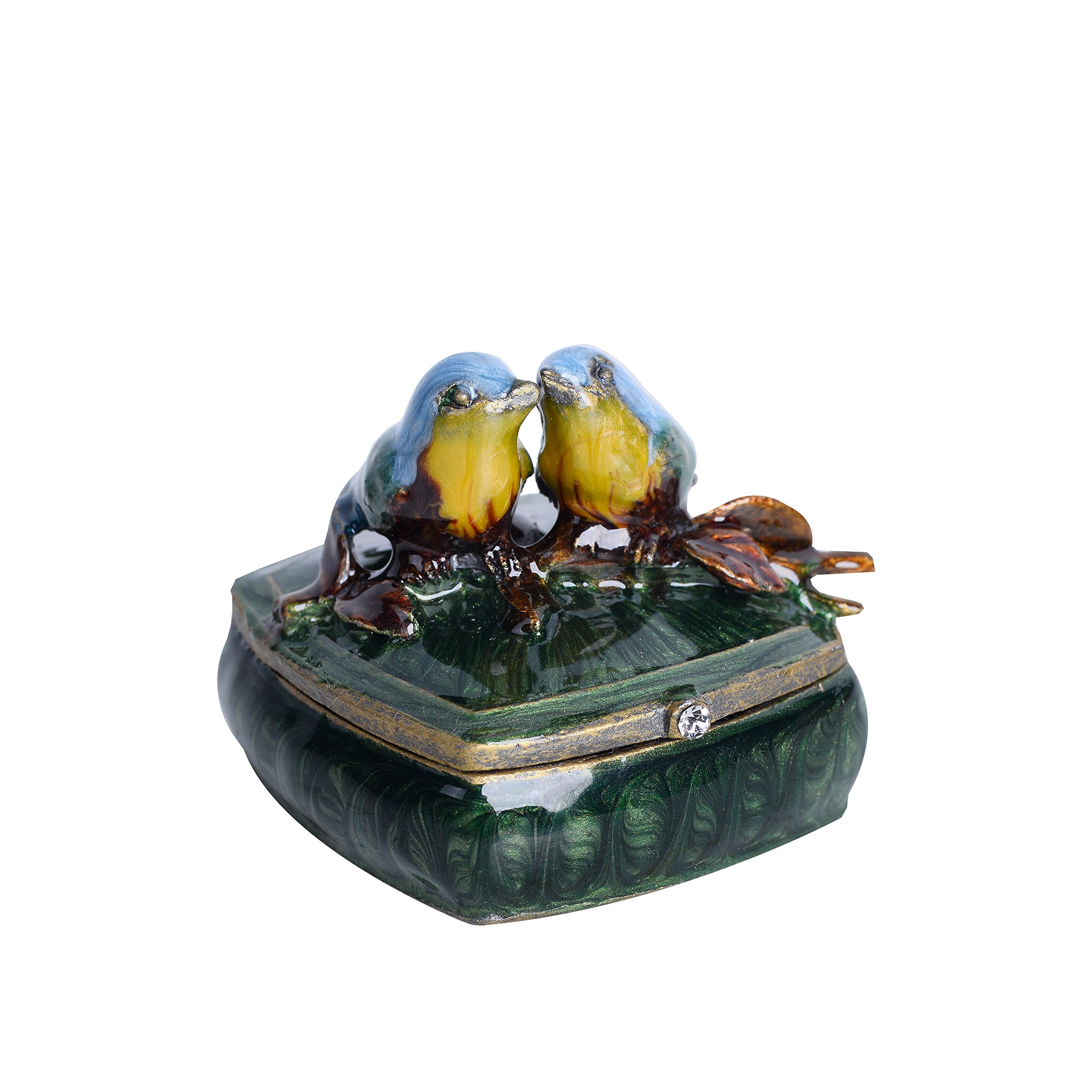 NIKKY HOME Small Vintage Love Birds Pewter Jeweled Trinket Box, 2.1'' by 2.1'' by 1.8'' by NIKKY HOME (Image #1)
