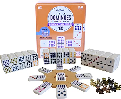 Mexican Train Dominoes with Wooden Hub and Metal Trains For 2-8 Players