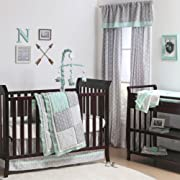 Mint Woodland and Geometric Patchwork 4 Piece Crib Bedding by The Peanut Shell
