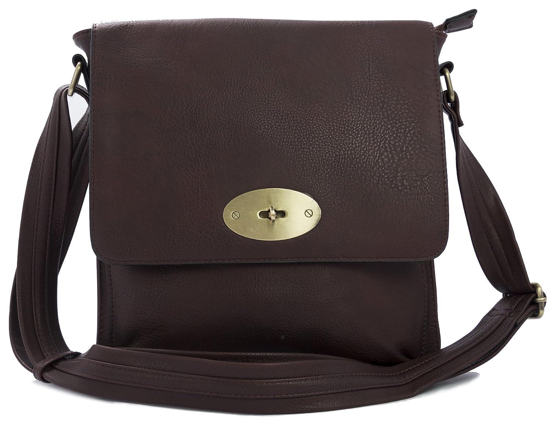 c97a94a338cf Big Handbag Shop Vegan Leather Unisex Medium Twist Lock Cross Body Messenger  Bag (Tan Medium)  Amazon.co.uk  Shoes   Bags