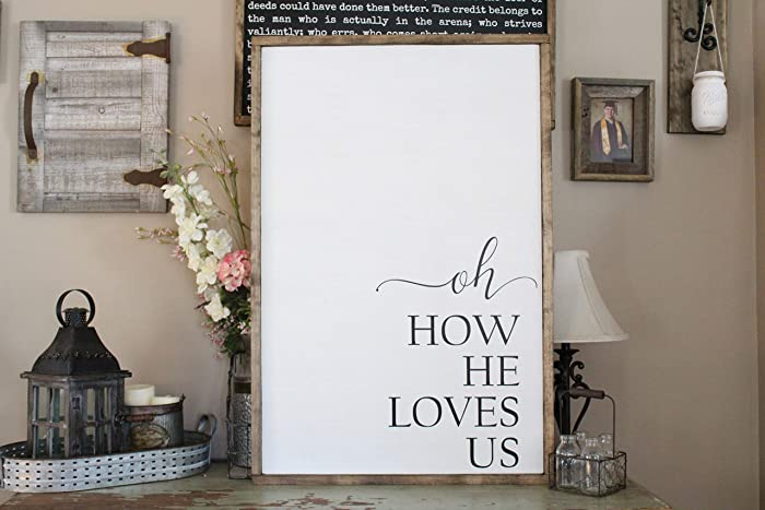 Amazon.com: Oh How He Loves Us Wall Art/Hand Painted Sign/Farmhouse ...