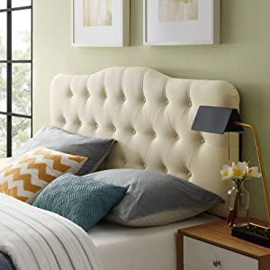 Modway Annabel Tufted Button Linen Fabric Upholstered King Headboard in Ivory