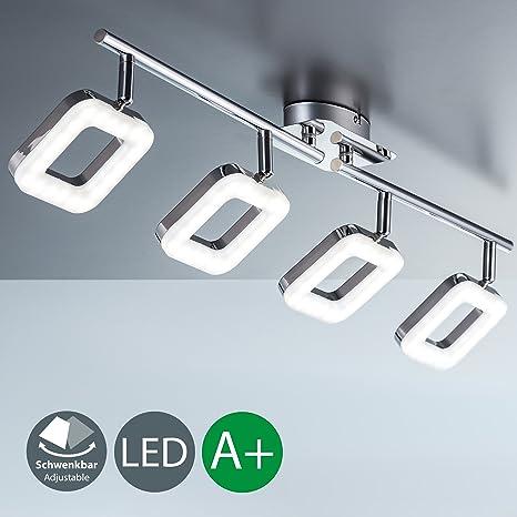 Lámpara de techo LED I Salón I 4 focos I Orientables y giratorios I Luces instaladas fijas I Metal I Plástico I Foco angular I Cromado I 230 VI IP20 I ...