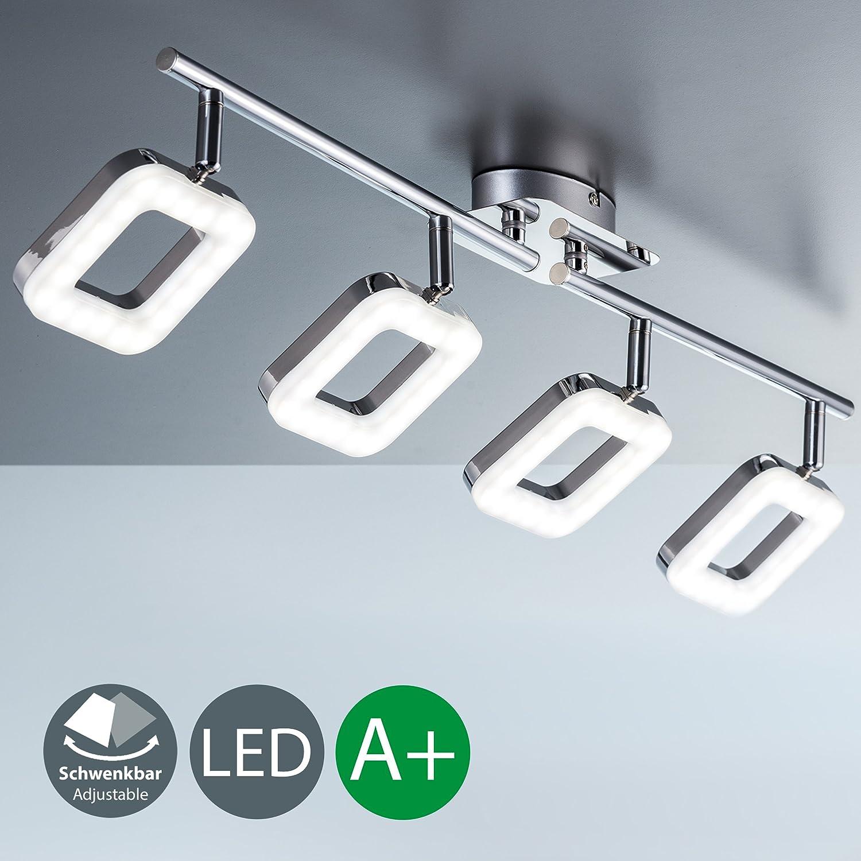 Chrom Eckig LED Deckenleuchte I dreh- & schwenkbar I Chrom I 4 x 4,5W 450LM LED Platine I IP20 I warmweiß 3000K I Deckenlampe