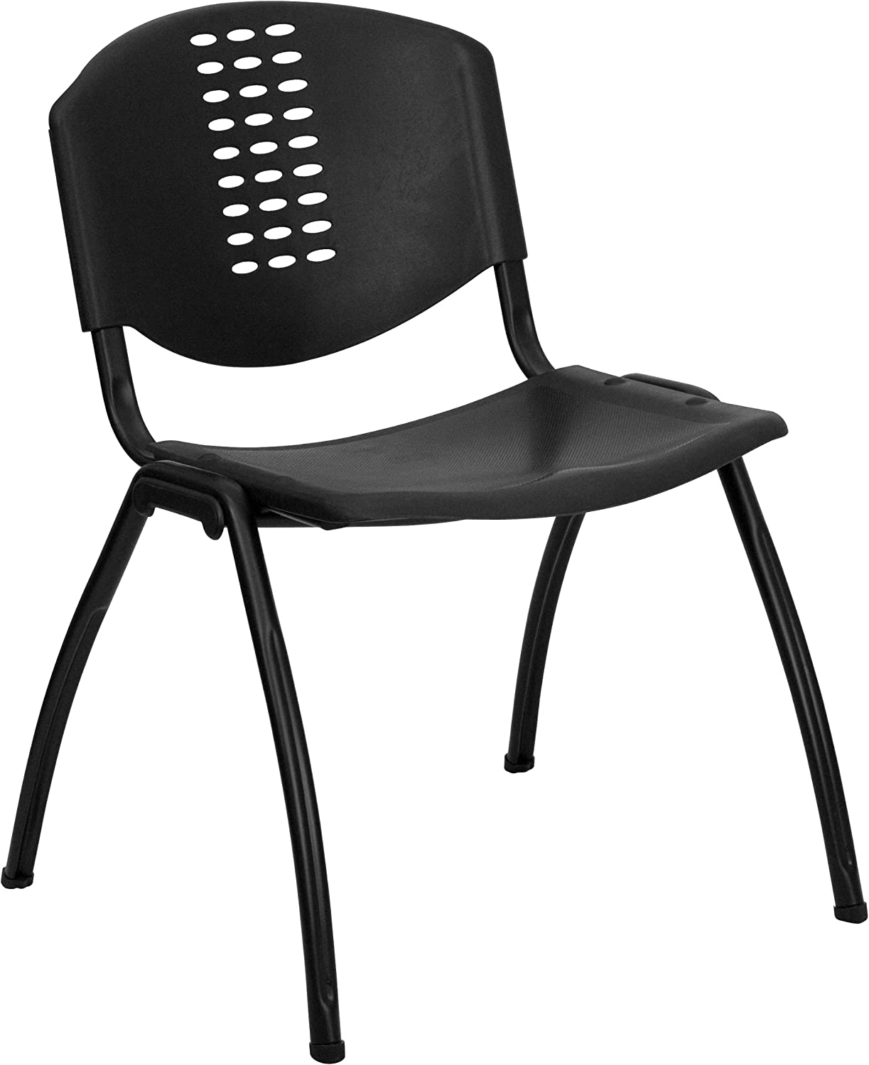 Flash Furniture HERCULES Series 880 lb. Capacity Black Plastic Stack Chair with Oval Cutout Back and Black Frame: Furniture & Decor