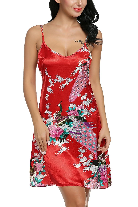 Avidlove Women's Peacock Nightshirts Satin Chemises Slip Sleepwear #AML005106