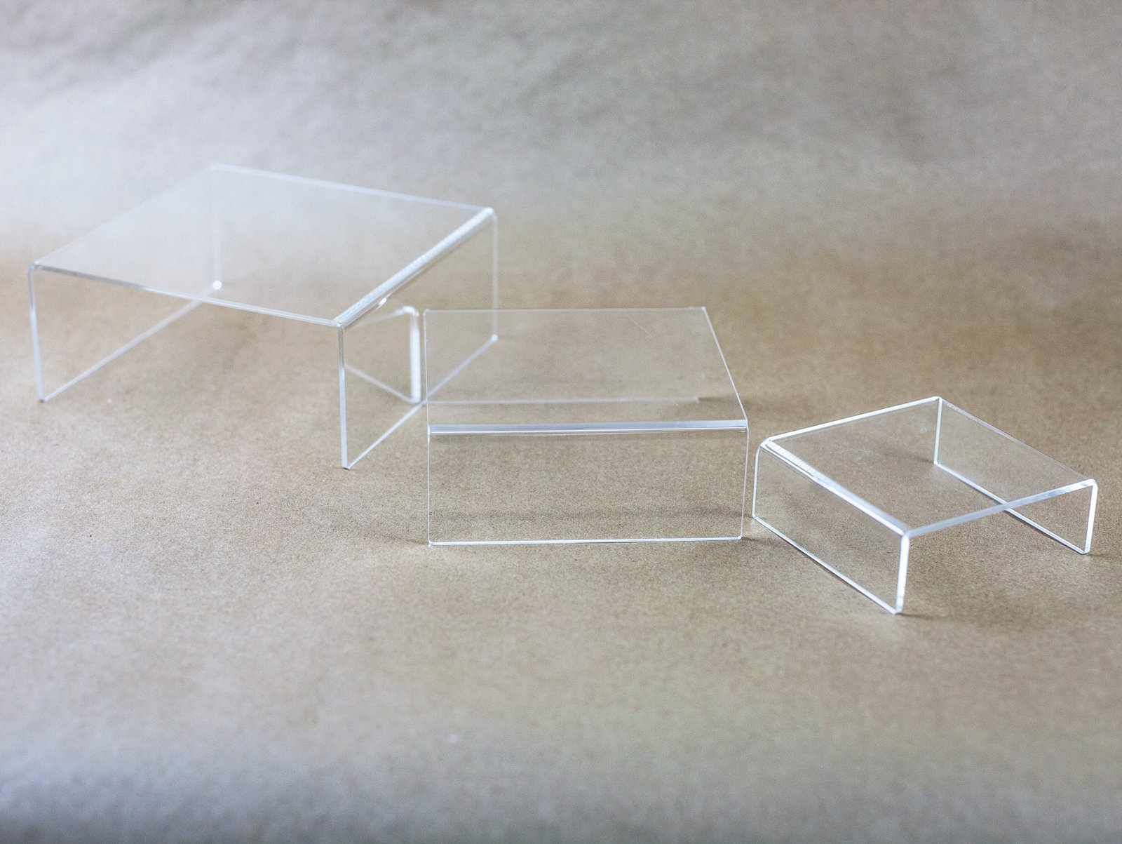 Huji Clear Medium Low Profile Set of 3 Acrylic Risers Display Stands (2 Set, Clear Acrylic Risers) by Huji (Image #5)